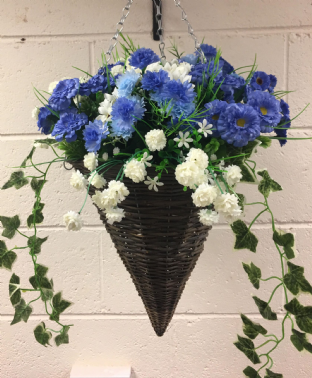 Round Wicker Artificial Flower Cone Hanging Basket - Blue and White with trailing Ivy